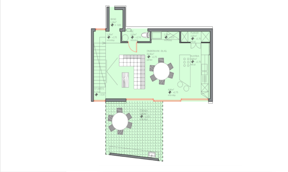 Novoizgrađeni stan - Tlocrt - PLOR Invest Zgrada Vodnikova ulica